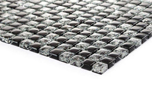 Black Crackle Glass Mosaic Kitchen Bathroom Tiles | Grand Taps