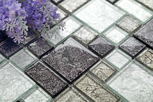 Load image into Gallery viewer, Sample of Black & Silver Foil Glass Modular Mix Mosaic Tiles (MT0044)