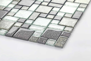 Sample of Black & Silver Foil Glass Modular Mix Mosaic Tiles (MT0044)