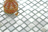 Silver Frosted Mirror Glitter Mosaic Kitchen Bathroom Tiles | Grand Taps