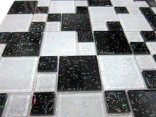 Load image into Gallery viewer, Black & White Glitter Modular Mosaic Bathroom Kitchen Tiles | Grand Taps