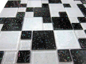 Black & White Glitter Modular Mosaic Bathroom Kitchen Tiles | Grand Taps
