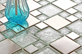 Silver Brushed Stainless Steel & Silver Asian Pattern Modular Mix Mosaic Tiles Sheet (MT0048)