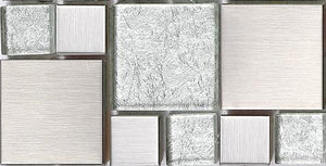 Brushed Silver Stainless Steel Modular Mix Mosaic Tiles (MT0048)