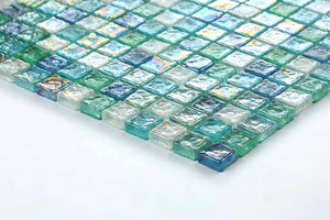 Green, Blue & White Hammered Swirl Glass Mosaic Tiles (MT0052)