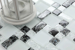 Sample of Black & White Crackled and Frosted Modular Mix Mosaic Tiles Sheet (MT0076)
