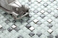 Load image into Gallery viewer, Sample of Black & White Crackled With Silver Mirror Glass Mosaic Tiles Sheet (MT0078)