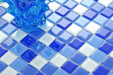 Blue & White Glass Mosaic Tiles (MT0081)