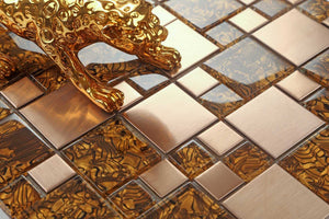 Amber Glass & Brushed Copper Effect Stainless Steel Mosaic Tiles (MT0087)