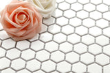 White Hexagonal Gloss Ceramic Mosaic Tiles Sheet (MT0089)