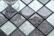 Load image into Gallery viewer, Sample of Grey Pattern Foil Glass Mosaic Tiles Sheet (MT0092)