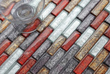 Autumn Linear Brick Foil Glass Mosaic Tiles (MT0094)