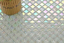 Load image into Gallery viewer, Sample of Lustrous Pearl White Iridescent Glass Mosaic Tiles Sheet (MT0095)