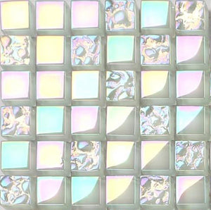 Sample of Lustrous Pearl White Iridescent Glass Mosaic Tiles Sheet (MT0095)