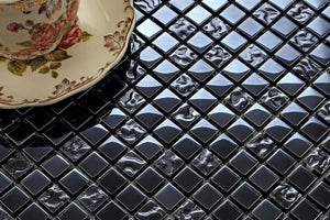 Sample of Lustrous Pearl Black Iridescent Glass Mosaic Tiles Sheet (MT0098)