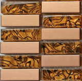Amber Glass & Brushed Copper effect Stainless Steel Mosaic Tiles (MT0104)