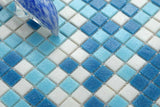 Blue & White Vitreous Glass Mosaic Tiles Sheet (MT0106)