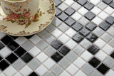 Black Grey & White Vitreous Glass Mosaic Tiles Sheet (MT0107)