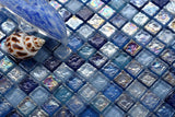 Sample of Hammered Pearl Blue Purple Violet Iridescent Glass Mosaic Tiles Sheet (MT0109)
