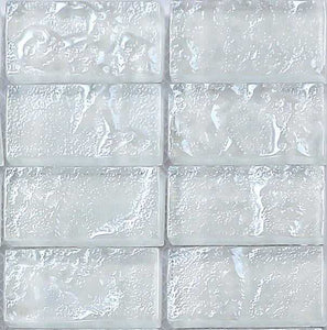 Sample of White Textured Lava Glass Brick Mosaic Tiles Sheet (MT0118)