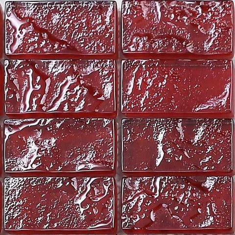 Sample of Red Textured Lava Glass Brick Mosaic Tiles Sheet (MT0123)
