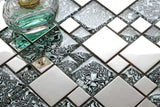 Black & White Patterned Glass & Polished Stainless Steel Mosaic Tiles (MT0132)