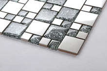 Load image into Gallery viewer, Sample of Black & White Patterned Glass & Polished Stainless Steel Mosaic Tiles Sheet (MT0132)