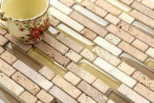 Load image into Gallery viewer, Sample of Natural Earth Colours Glass And Stone Brick Shape Mosaic Tiles Sheet (MT0133)