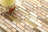 Sample of Natural Earth Colours Glass And Stone Brick Shape Mosaic Tiles Sheet (MT0133)