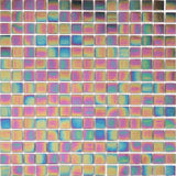 Sample of Purple Iridescent Vitreous Glass Bathroom Kitchen Mosaic Tile (MT0141)