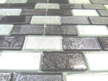 Load image into Gallery viewer, Sample of Silver and Black Mix Brick Foil Glass Mosaic Tiles (MT0161)