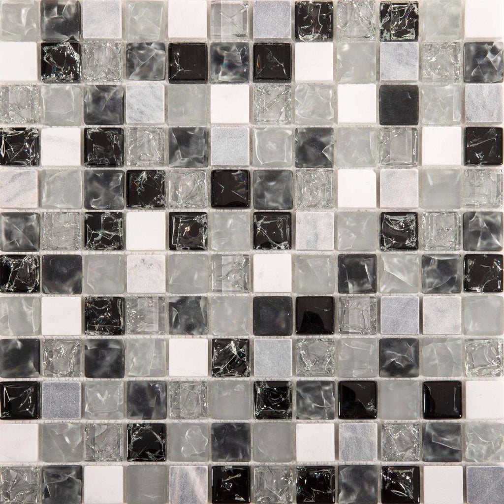 Black Amp Clear Crackled Glass And Stone Bathroom Mosaic