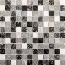 Load image into Gallery viewer, Black & Grey Crackled Glass and Stone Bathroom Kitchen Mosaic Tile (MT0152)