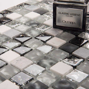Black & Grey Crackled Glass and Stone Bathroom Kitchen Mosaic Tile (MT0152)