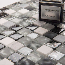 Load image into Gallery viewer, Sample of Black & Grey Crackled Glass and Stone Bathroom Kitchen Mosaic Tile (MT0152)