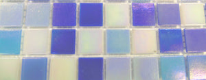 Blue & White Iridescent Mix Glass Mosaic Tiles (MT0142)
