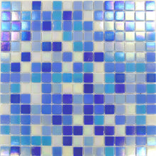 Load image into Gallery viewer, Sample of Blue & White Mix in Iridecsent Glass Mosaic Tiles Sheet (MT0142)