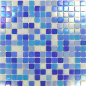 Sample of Blue & White Mix in Iridecsent Glass Mosaic Tiles Sheet (MT0142)
