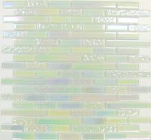 Load image into Gallery viewer, Sample of Stunning White Iridescent Textured and Plain Glass Mosaic Tile Sheet (MT0172)