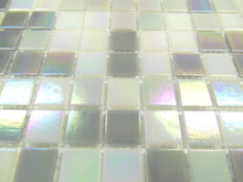 Load image into Gallery viewer, Sample of Grey & White Mix in Iridecsent Glass Mosaic Tiles Sheet (MT0167)