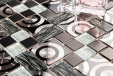 Black & Silver Glass with Steel Bathroom Kitchen Mosaic Tile (MT0175)