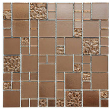 Load image into Gallery viewer, Copper Lava & Plain Glass Mosaic Tiles (MT0197)