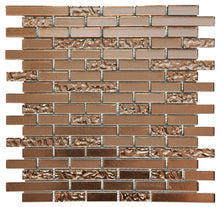 Load image into Gallery viewer, Copper Lava & Plain Glass Brick Mosaic Tiles (MT0198)