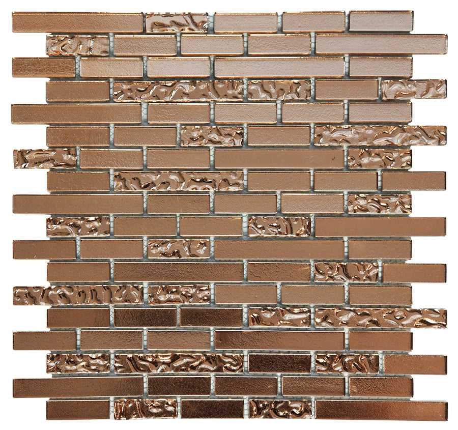 Copper Lava & Plain Glass Brick Mosaic Tiles (MT0198)