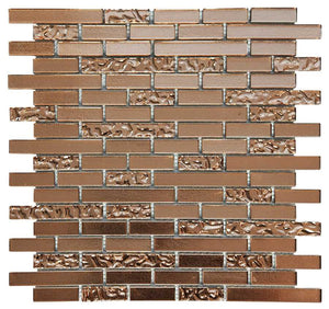 Sample of Copper Lava & Plain Glass Brick Mosaic Tiles (MT0198)