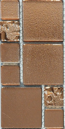 Sample of Copper Lava & Plain Glass Mosaic Tiles (MT0197)