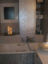 Load image into Gallery viewer, Silver Glitter Sparkling Square Mosaic Bathroom Wall Tiles | Grand Taps