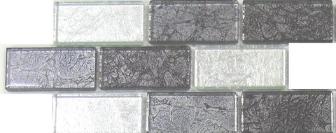 Sample of Silver and Black Mix Brick Foil Glass Mosaic Tiles (MT0161)
