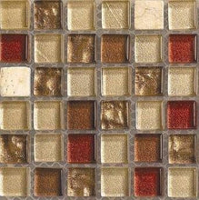 Load image into Gallery viewer, Sample of Brown & Beige Glass & Stone Mosaic Tiles Sheet (MT0065)