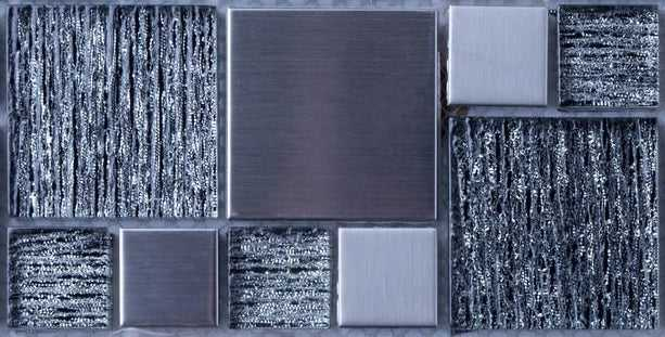 Sample of Silver Glass & Brushed Steel Mosaic Tile (MT0150)